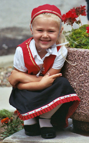 Female child in Danish attire.