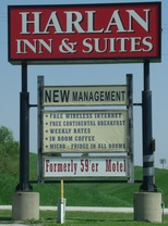 Chamber Member:  Harlan Inn & Suites sign.