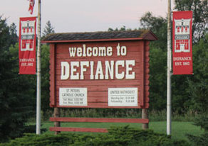 Picture of Defiance Welcome Sign.
