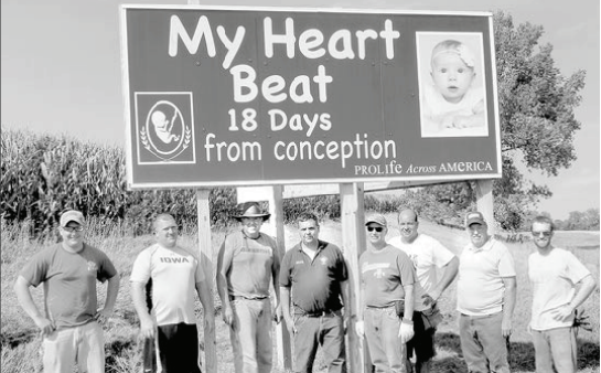 Picture of Shelby County's first Pro-life sign located two miles south of Panama.  It was erected by the Knights of Columbus Council 1741 on Sunday September 6, 2015.