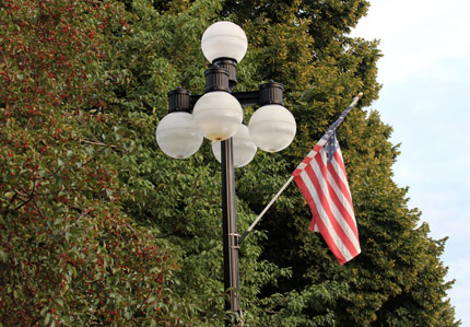Street Lamp with an American Flag.