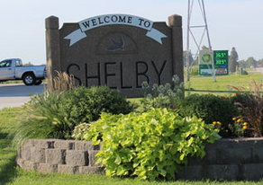 Picture of Shelby Welcome Sign.