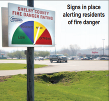 Picture of signs alerting residents of fire danger.